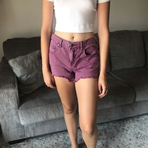 Free People Maroon Lightly Distressed Shorts Sz 29